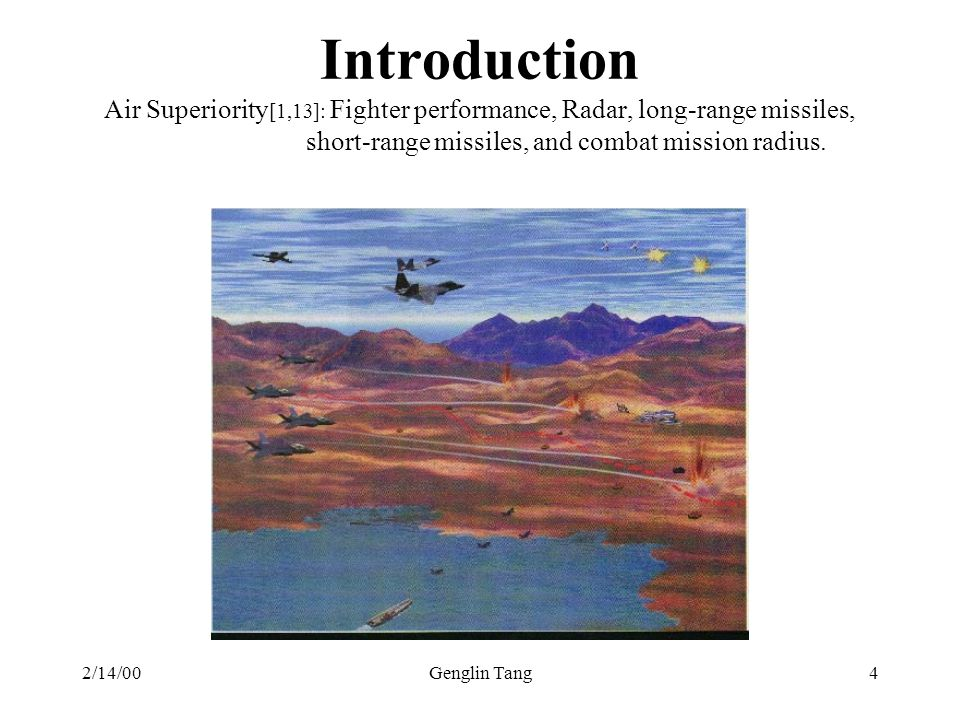 Introduction Air Superiority[1,13]: Fighter performance, Radar, long-range missiles, short-range missiles, and combat mission radius.